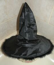 Black Witches Hat with Back Boa Feathers Trim Halloween Costume One Size