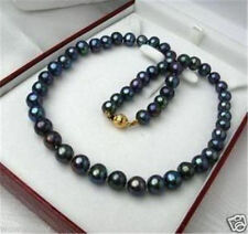 """New 7-8mm Tahitian Black Natural Pearl Necklace 18"""" AAA+"""