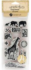 Safari Adventure #2 Unmounted Red Rubber Cling Stamp Set Graphic 45 New, ICO363