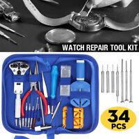 34-tlg Uhrmacherwerkzeug Reparatur Werkzeugset Reparaturset Schraubendreher