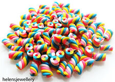 50 PINK WHITE BLUE YELLOW SMALL FLUMP MARSHMALLOW BEADS WITH CLAY / FIMO