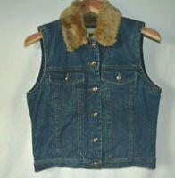 Wrangler Outerwear Vintage Faux Fur Lined Denim Vest, Women's Small