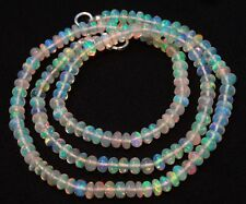 """Super Flashing Fire Natural Ethiopian Opal Smooth Rondelle Beads Necklace 16.5"""""""