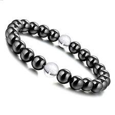 8mm Hematite Round Beads Clear Crystal Gem Stretch Therapy Bracelet