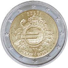 """Pièce Commémorative d'Estonie 2012, """"10 ans de Euros""""."""
