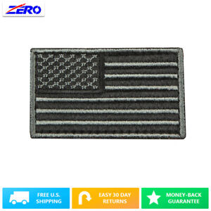 """Black USA Flag Patch Embroid 3.4""""x 2.0"""" Hook Fastener United States America"""