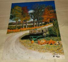 Artist Proof 2/50 Pumpkin Farm 12x16 Art Print Halloween Picture Wagon Fall COA