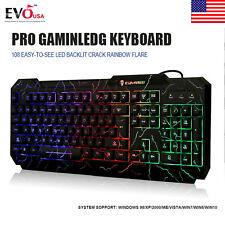 Ergonomic Cooling Crack LED Rainbow Backlight Illuminated Gaming Keyboard