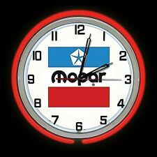 "19"" MOPAR Old Logo Sign Red Double Neon Clock Man Cave Garage"