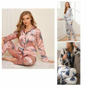 Womens Pyjamas Set Printed SATIN PJ Set Button Up Ladies Loungewear Size 6-16 UK