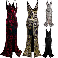 1920s Long Slit Prom Dresses Deep V Neck Sequin Mermaid Bridesmaid Evening Dress