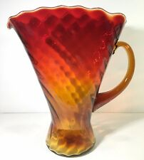 "Vintage Kanawha Glass Amberina Fan Vase Pitcher 10"" w Applied Handle Foil Label"