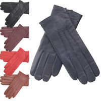 Ladies Super Soft Genuine Leather Casual Gloves Central Stitch Fleece Lined