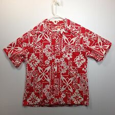 Genuine Hawaiian Aloha Shirt - Barefoot Trader - L - True Vintage Red & White