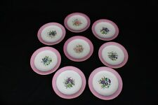 19th Century Royal Worcester Dessert Plates Pink Autumn Winter Painted Scene Set