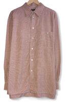 Ermenegildo Zegna Mens Sz XL Red Plaid Silk/Cotton Pocket Button Front Shirt euc
