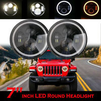 "2 x 7"" Round LED Headlight Halo DRL Angel Eyes For Jeep 1997-2017 Wrangler JK"