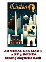 SM188- Houston Texas Travel Poster 2 by 3 Inch Metal Refrigerator Magnet