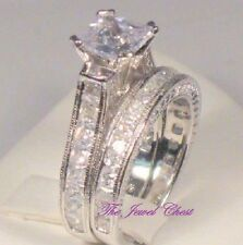 Princess cut Diamond Engagement Ring Wedding Band Antique Vintage White Gold