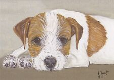 Cute Jack Russell Card by Sarah Sample Art with paw print cut out detail inside