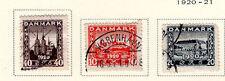Denmark - Full 1920 Buildings set. Scott #156-158 Used