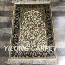 Yilong 2'x3' 300Lines Handmade Carpets Tree Of Life Handmade Silk Area Rug L123A