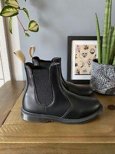 Dr Martens Vegan Flora Chelsea Boots Size UK 4 EU 37 BNIB Faux Black Leather