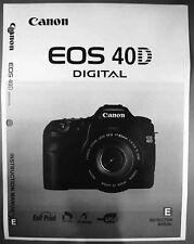 Canon EOS 40D Digital Camera User Instruction Guide  Manual