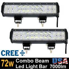 2x 12 Inch 72W CREE LED WORK LIGHT BAR FLOOD SPOT COMBO SUV OFF ROAD Truck BOAT