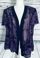 Studio I Women's 20W Shrug Short Sleeves Purple Paisley Sheer Open Front Silky