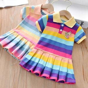 UK Kids Baby Girl Rainbow POLO Dress Pleated Mini Dress Party Swing Tutu Dresses