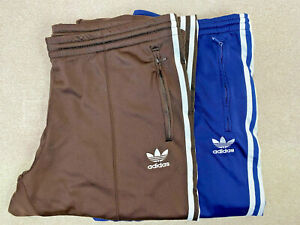 2 Pair Adidas Men's Sweatpants Blue White/ Brown Track Active Wear Straight Leg