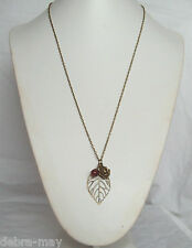 "Bronze Filigree Leaf, Rose and Red Quartz Cluster Pendant 32"" Chain Necklace"