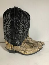 Snakeskin Cowboy Boots Black Size 7.5 M 8230023 Gently Worn
