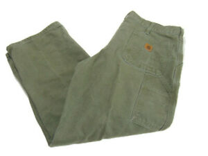 Carhartt Pants Green Moss Flat Front Dungaree Fit Canvas Utility Work Mens 40