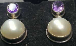Amethyst &  Pearl  Solid Sterling Silver earrings - $199.95