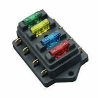 12V/24V 4 Way Car Truck Auto Blade Fuse Box Holder Circuit Standard ATO +4X Fuse