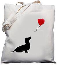 Dachshund & Balloon Design - Natural (Cream) Cotton Shoulder Bag / Shopper /Tote