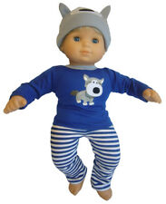Doll Clothes fits 15: Bitty Baby Blue Doggy Pajamas & Night Cap