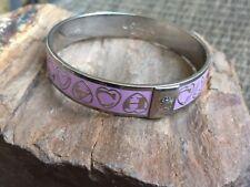 COACH Signature C Logo Bracelet Bangle Lilac Pink Enamel Silver Tone Setting