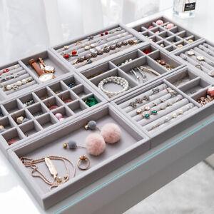 3x Velvet Jewelry Storage Tray Earring Ring Necklace Display Case Organizer Box
