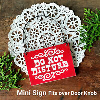 Small MINI SIGN DO NOT DISTURB Fits over Door Knob Wood Red DecoWords USA