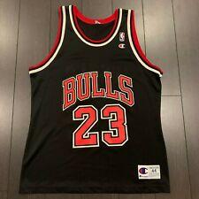 Champion Michael Jordan Chicago Bulls Replica Alternate Black Jersey sz. 44 vtg