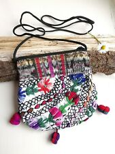 Half Moon Shaped Purse, Huipil, Guatemalan Bag, Embroidered, Floral Multicolor