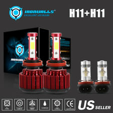 4 Sides H9/H11+H11/H8/H16JP Combo LED Headlight Bulb High/Low Beam Fog Kit White