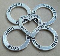 5 Strength Survivor Hope Faith Love Heart Rings Word Charm Pendants Locket Plate