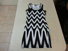 Women's BARDOT Size 8 AU Mini Dress Black White Near New Viscose Stretchy ZigZag