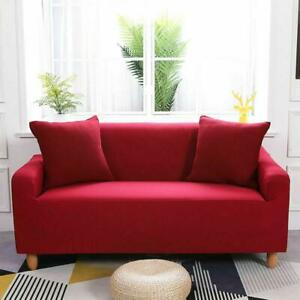 Stretch Thick Sofa Cover Slipcover Home Protector 1/2/3/4 Seaters 纯色弹力沙发套 Gjxia