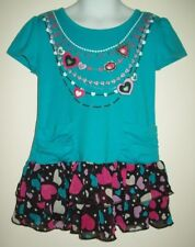 tempted girls tunic size large 6 blue faux necklace ruffle two tier skirt summer