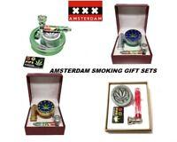 3 PC GRINDER,SMOKING METAL PIPE & PIPE SCREENS AMSTERDAM GIFT SET IN TRAVEL BOX